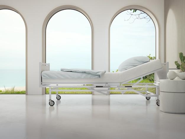 Luxuriöses krankenhauszimmer mit strand- und meerblick im medizinischen tourismuskonzept