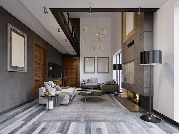 Luxuriöses lof-innendesign-wohnzimmer im hipster-stil mit grauen möbeln und wänden und einem kreativen schrank unter dem fernseher mit regalen. 3d-rendering.