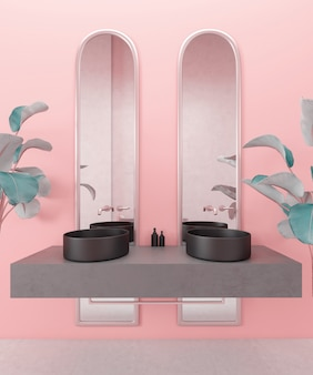 Luxuriöses modernes badezimmer mit pflanzen