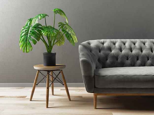 Luxuriöses modernes wohnzimmer, modernes sofa. 3d-rendering-illustration.