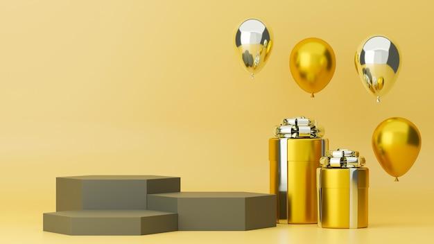 Luxuriöses online-poster mit dreilagigen podiumsgold-geschenkboxen und luftballons in gelbem hintergrund