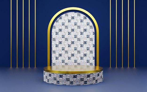 Luxuriöses podium mit geometrischer marmorstruktur in blau und gold für produktpräsentationen. 3d-rendering. dunkler hintergrund.