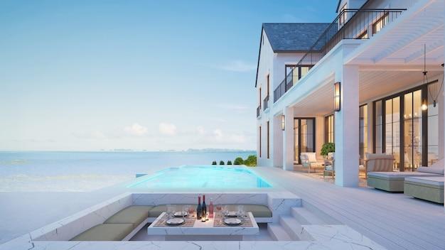 Luxuriöses strandhaus mit meerblick und swimmingpool