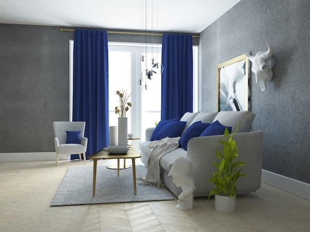 Luxuriöses und stilvolles wohnzimmer mit golddekoration