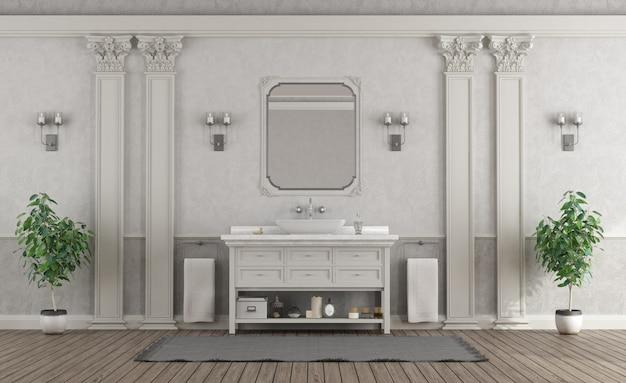 Luxuriöses weißes und graues badezimmer zu hause