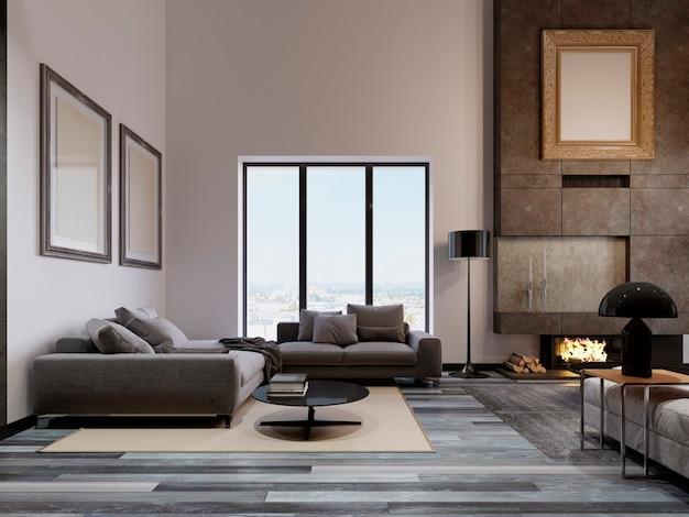 Luxuriöses wohnzimmer im loft-design mit hoher decke und großem ecksofa am panoramafenster. großer betonkamin mit feuer. bilder von modellen an der wand. 3d-rendering.