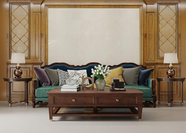 Luxuriöses zimmer mit sofa und tisch