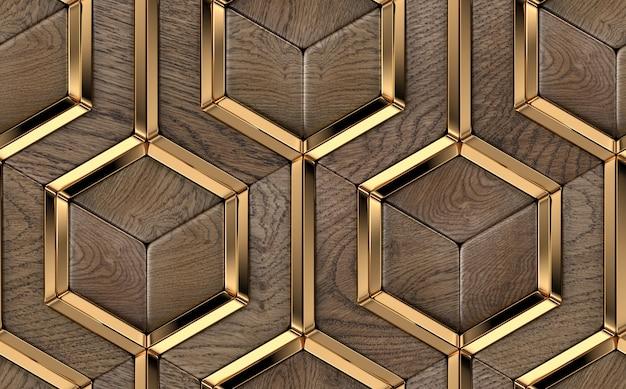 Luxus-3d-fliesen aus massiven edelholzelementen und goldenen metalldekorelementen