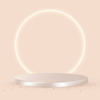 Luxus-3d-produkthintergrund in roségold mit orangefarbenem hintergrund