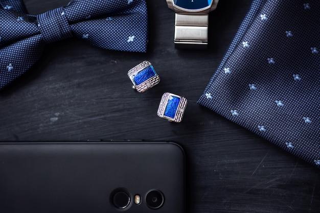 Luxus blaue mode herren manschettenknöpfe zubehör für smoking butterfly tie style uhr und smartphone