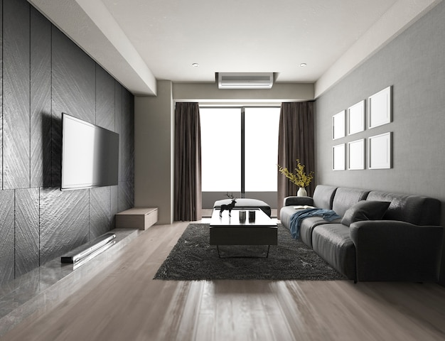 Luxus der wiedergabe 3d und modernes wohnzimmer mit gewebesofa