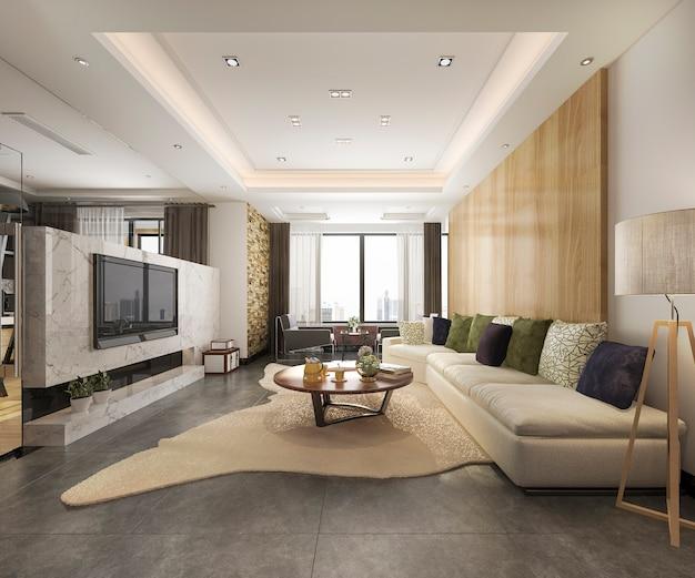 Luxus der wiedergabe 3d und modernes wohnzimmer mit ledersofa des guten designs