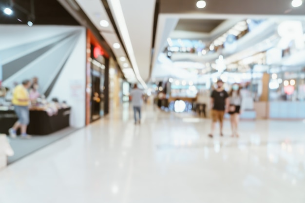 Luxus-einkaufszentrum und einzelhandelsgeschäft mit abstrakter unschärfe
