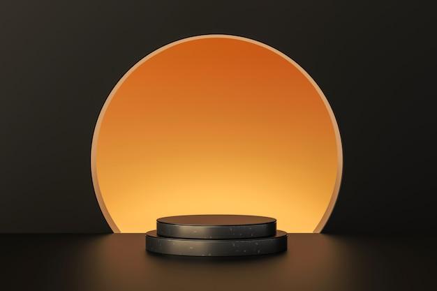 Luxus-goldprodukt-hintergründe oder leere podestpodeste 3d-rendering