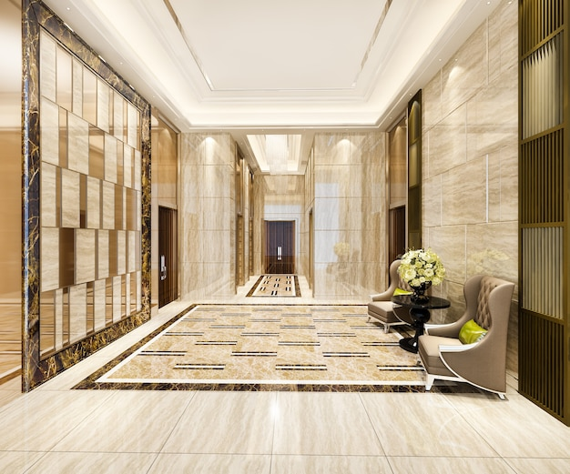 Luxus-lobby mit sessel in der nähe des korridors