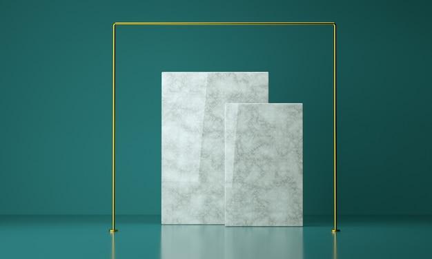 Luxus-marmorquadrat des 3d-renders mit goldenem rahmen, studiohintergrund für produktanzeige