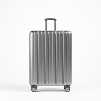 Luxus metallgrauer aluminiumkoffer über weißem hintergrund reise-urlaub-ferien-konzept