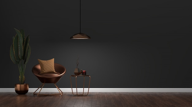 Luxus moderne dunkle wohnzimmer interieur