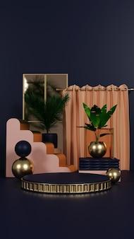 Luxus-podium mit pflanze und vorhang