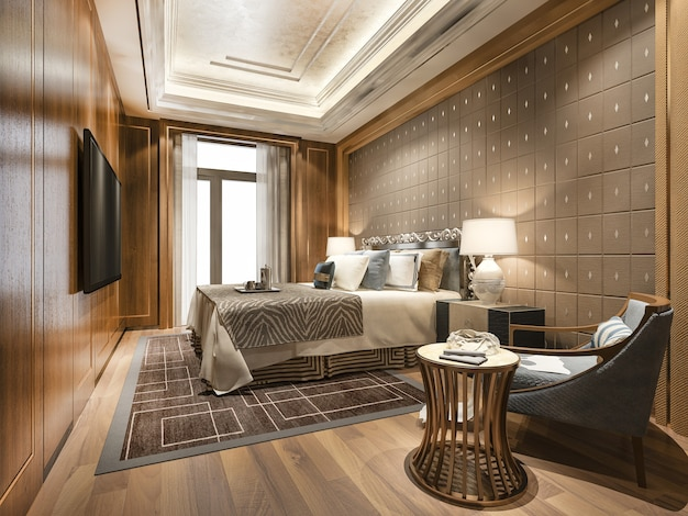 Luxus-schlafzimmer-suite im hotel mit fernseher und arbeitstisch