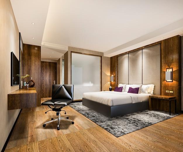 Luxus-schlafzimmer-suite im resort mit arbeitstisch