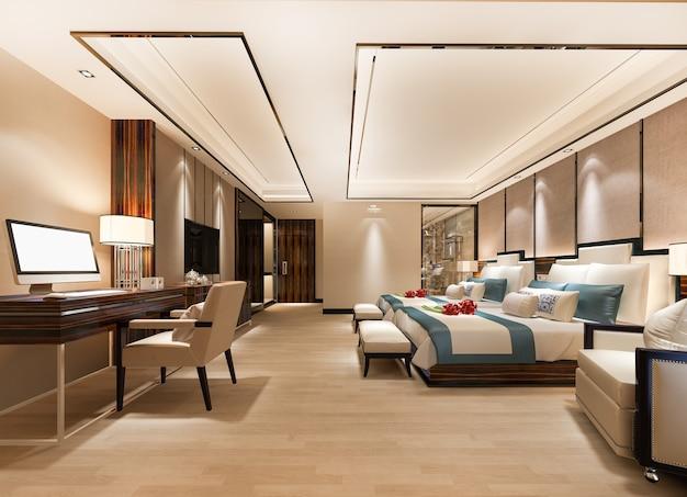 Luxus-schlafzimmer-suite mit arbeitstisch und zwei einzelbetten