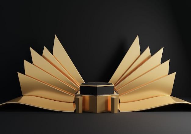 Luxus schwarzes podium mit goldener dekoration auf schwarzem hintergrund.