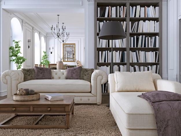 Luxus-sofa im klassischen wohnzimmer mit bibliothek. 3d-rendering
