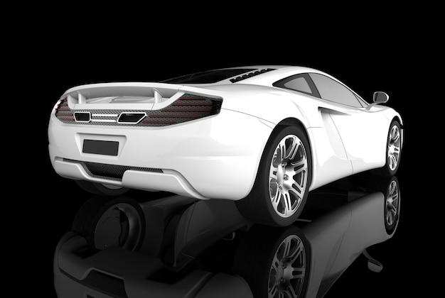 Luxus-sportwagen auf schwarzem hintergrund im 3d-rendering