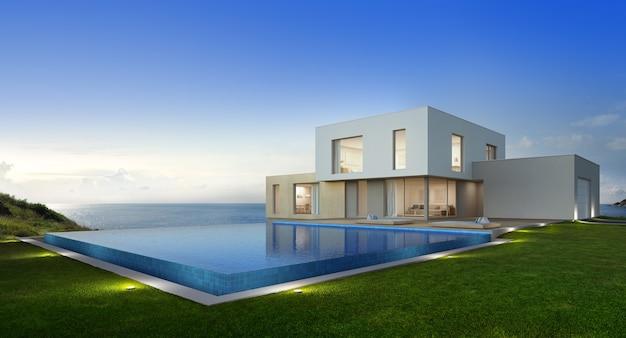 Luxus-strandhaus mit meerblick pool und terrasse