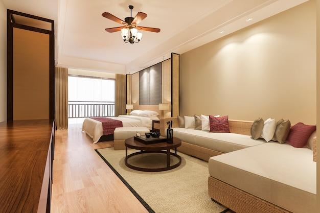 Luxus tropische schlafzimmersuite im resorthotel