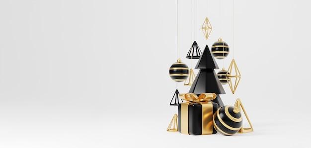 Luxus-weihnachten 3d-render-banner oder grußkarte. moderne minimale neujahrs- und weihnachtsdekoration in gold und schwarz mit baum, süßigkeiten, ball, geschenkbox auf schwarzem hintergrund