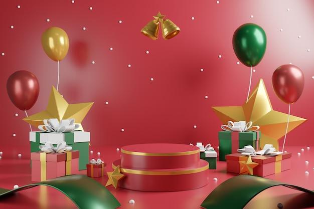 Luxus-weihnachtsszene mit rotem podium und weihnachtsdekoration.