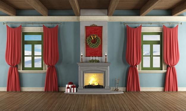 Luxus wohnzimmer mit weihnachtsdekor
