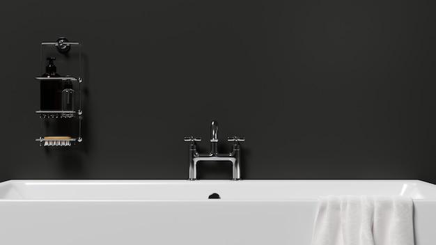 Luxusbadewanne im modernen, stilvollen badezimmer mit schwarzer wand, badezubehör hautnah. stilvolles badezimmer interieur, entspannung, 3d-rendering, 3d-darstellung