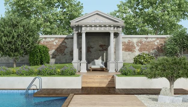 Luxusgarten mit kleinem neoklassizistischen tempel und pool