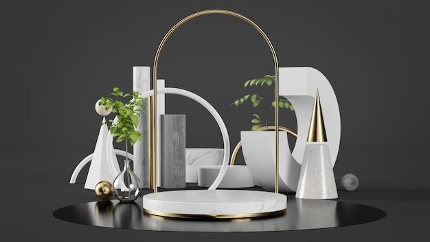 Luxusgoldpodest für produktpräsentation mit geometrischem satz und pflanzen bakcground 3d rendering