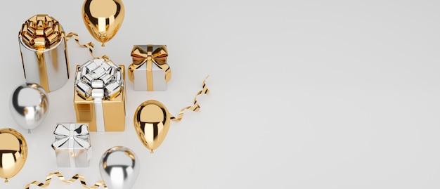 Luxuskonzept-banner-gold-geschenkboxen mit dekorationen und kopienraum für textwerbung
