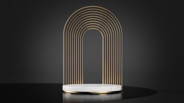 Luxusplattform in weißem marmor und goldene formen hintergrund 3d rendering