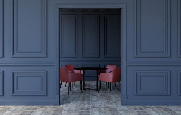 Luxusrauminnenraum in der modernen klassischen art mit modernem speisetische und stühlen, wiedergabe 3d