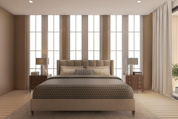 Luxusschlafzimmer der wiedergabe 3d mit hohem schönem fenster