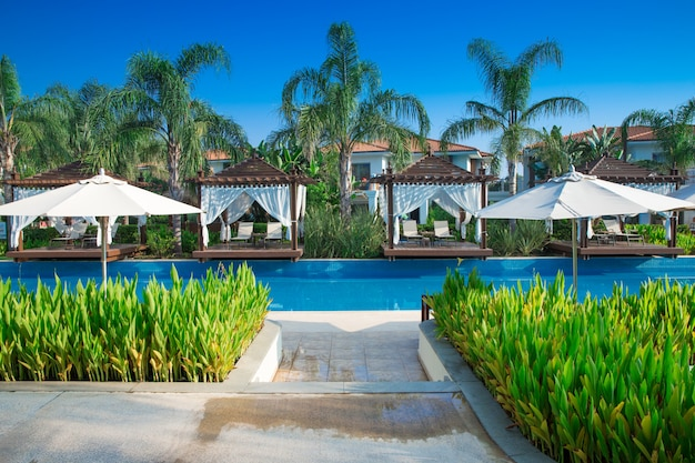 Luxusvilla mit pool im garten