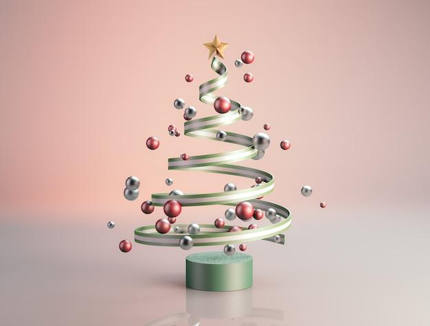 Luxusweihnachtsbaum mit geometrischen bällen.