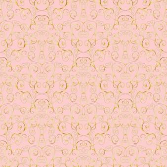 Luxuxgoldbarockes nahtloses muster auf rosa hintergrund. für tapeten, verpackungen, textilien, webseitenhintergrund, einladungskarte, modedesign.