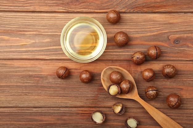 Macadamiaöl auf dem tisch minimalismus platz für text
