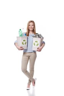 Machen sie mit beim recycling für eine gesunde welt
