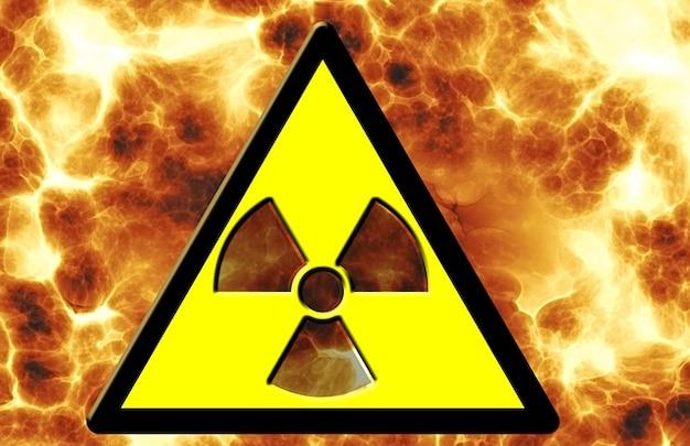 Macht radioaktivität feuer der nuklearen gefahr gefahr zeichen