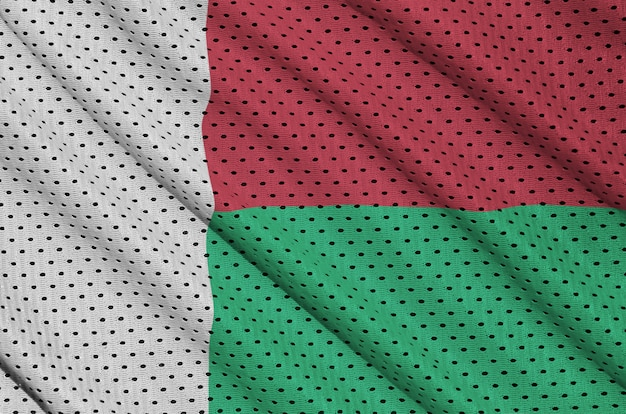 Madagaskar-flagge auf sportswear-netzgewebe aus polyester-nylon