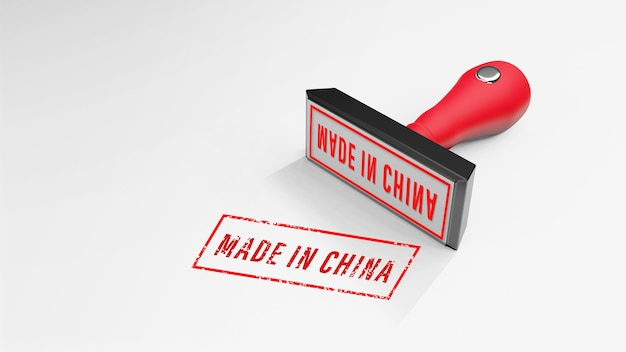 Made in china stempel 3d-rendering