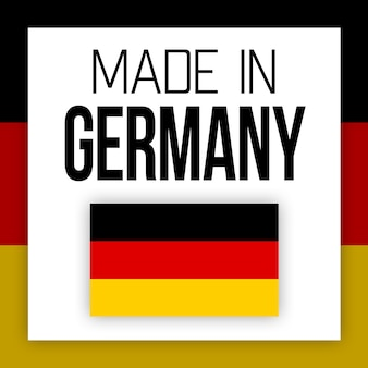 Made in germany-label, illustration mit nationalflagge